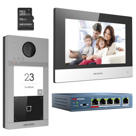 KIT videointerfon IP pentru o familie, Wi-Fi 2.4Ghz, monitor 7 inch - HIKVISION DS-KIS604-S